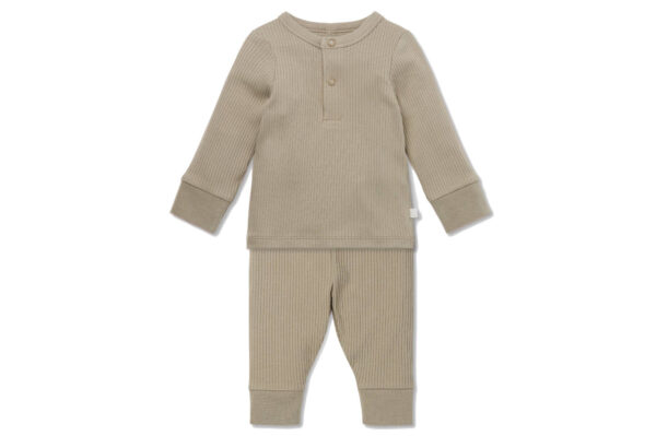Mori Ribbed Pyjama Set Biscuit