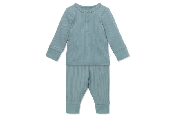 Mori Ribbed Pyjama Set Blue