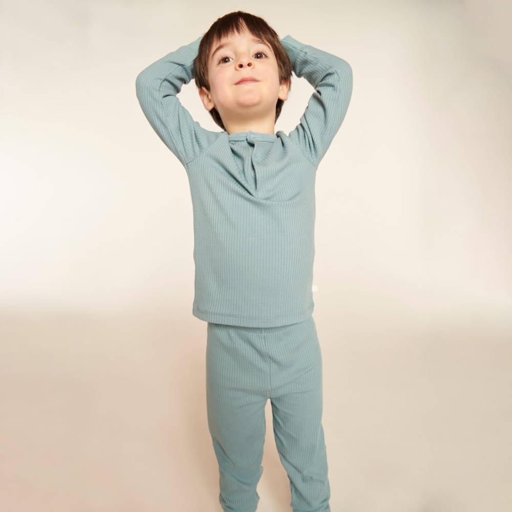 Mori Ribbed Pyjama Set Blue