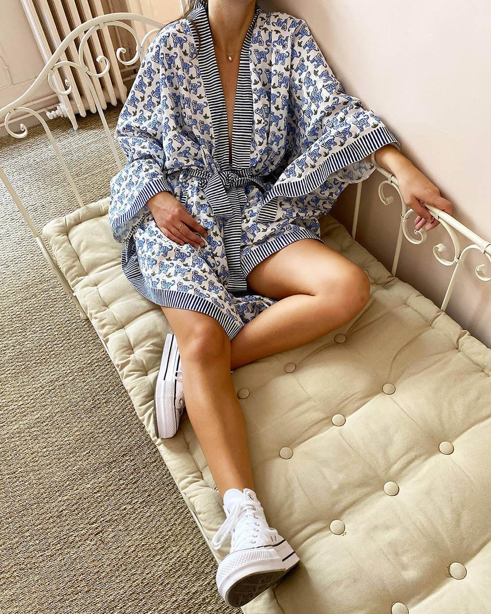 BRAI Dames Kimono Tijger Blauw